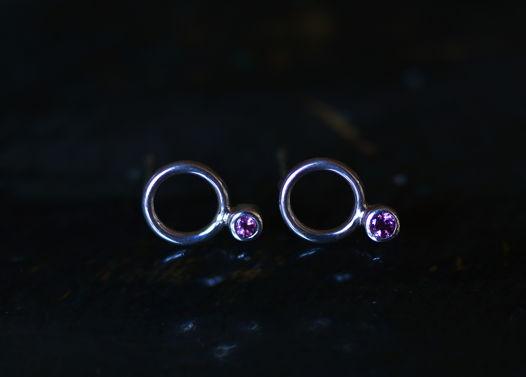 Крошки-гвоздики О2 с натуральным розовым турмалином