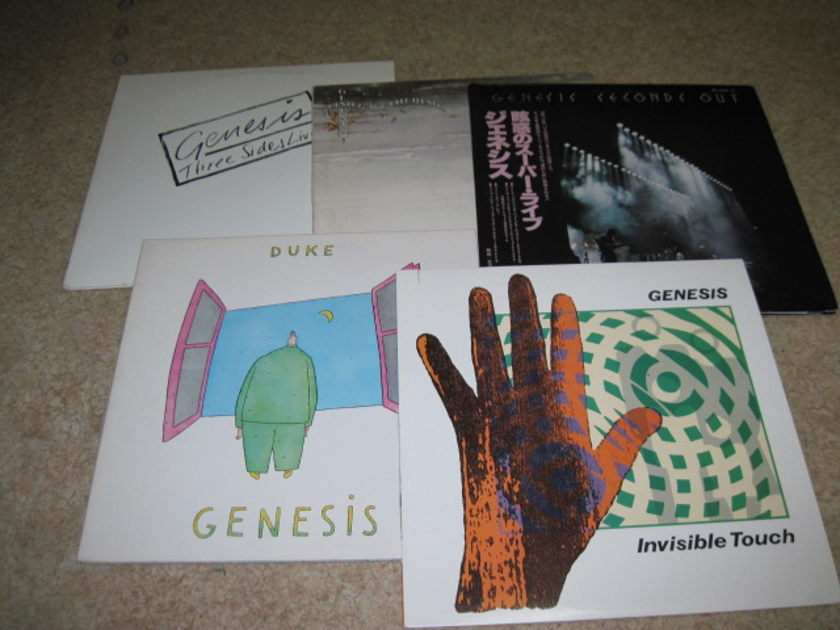 Genesis LPs -lot of 5- - Three Sides Live, Duke, Invisible Touch, Seconds Out Japanese Import, Wind & Wuthering