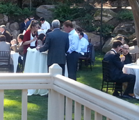The scene at lunch. David McClure, wearing glasses, is seated at right.