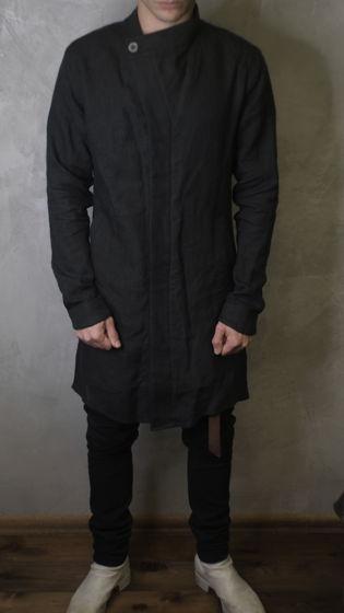 тренч пальто льняное асимметричного кроя