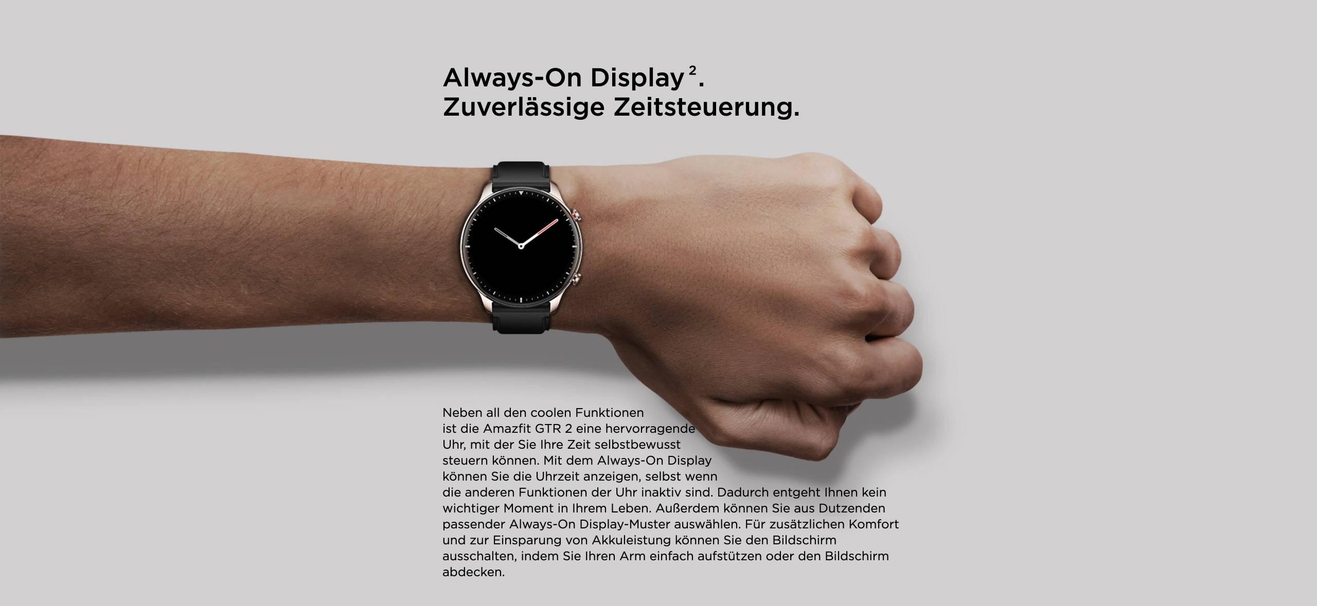 Amazfit GTR 2 - Always-On Display. Zuverlässige Zeitsteuerung.