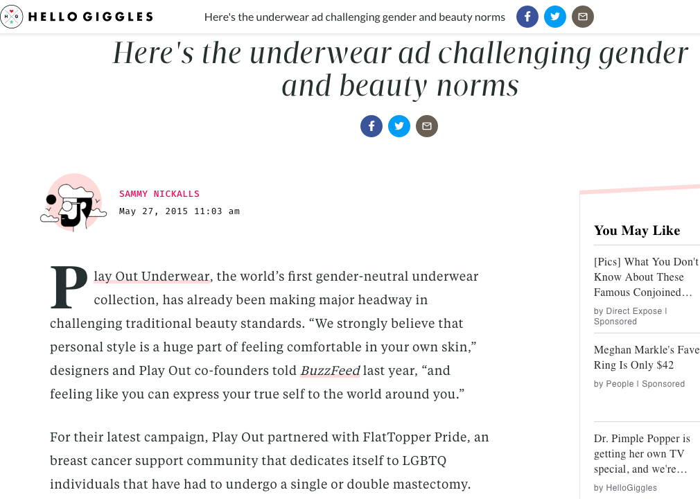 HelloGiggles - Here's the underwear ad challenging gender and beauty norms