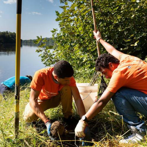 On voit deux hommes travaillant main dans la mains a l'irrigation d'une plantation de coton bio afin de fabriquer les vêtements écologique de Saïmiri-SB