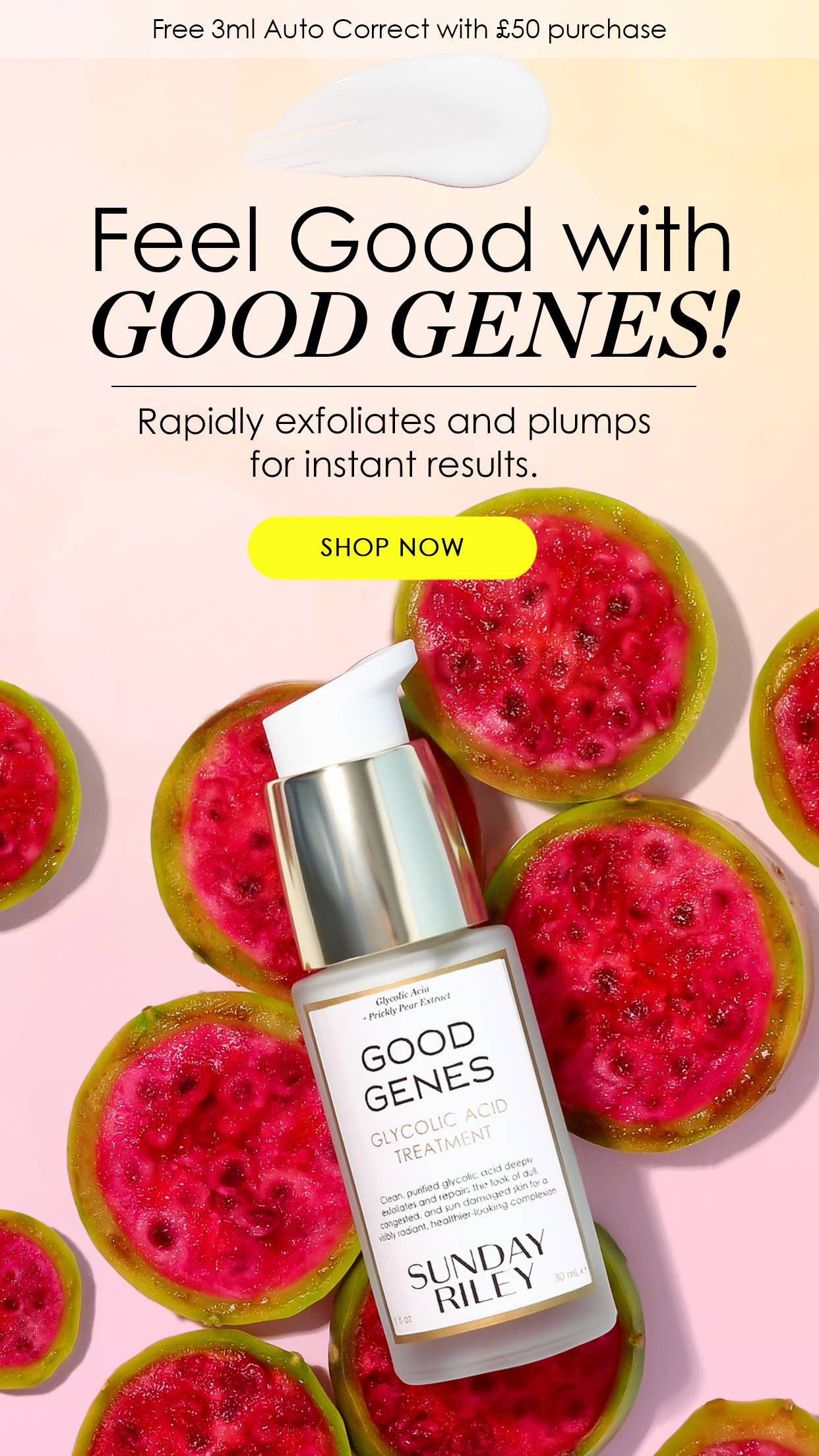 FEEL GOOD WITH GOOD GENES BANNER WITH GOOD GENES LACTIC BOTTLE