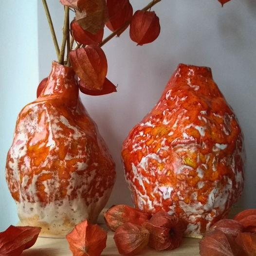 Керамическая оранжевая ваза