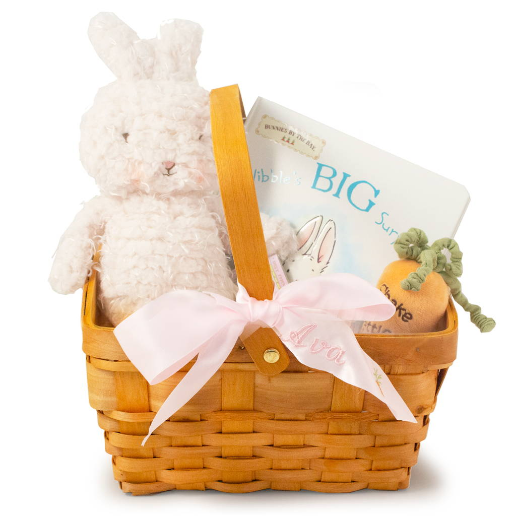 Image of Personalized Easter gift wicker basket with stuffed bunny