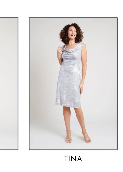 Shop Tina Silver Foil Printed Dress >