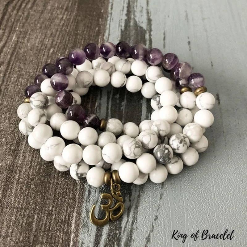 Bracelet Mala 108 Perles en Howlite et Améthyste - King of Bracelet