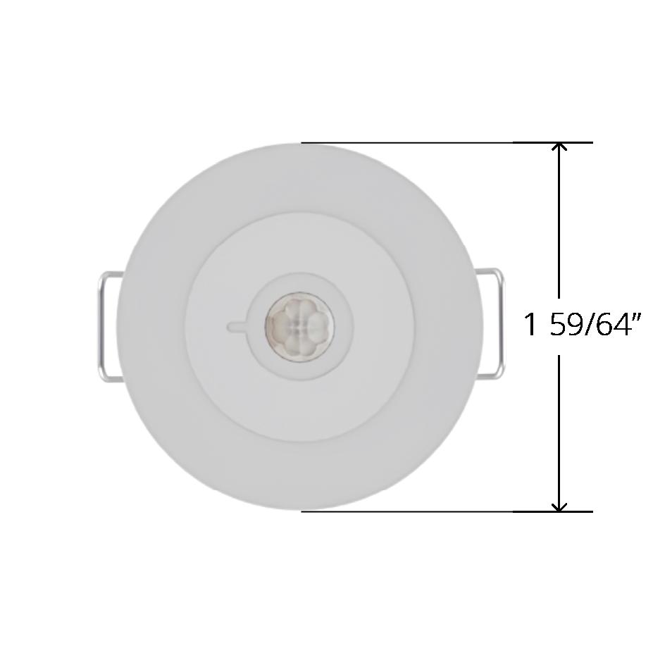 White Faradite IP67 Motion Sensor 360 49mm front dimensions