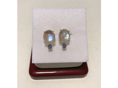 Gold Opal & Aquamarine Earrings - Fine Jewelry