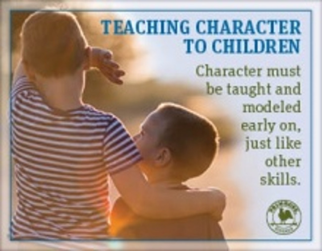 Teaching character to children poster featuring a young boy putting his arm over his younger brother's shoulder, walking