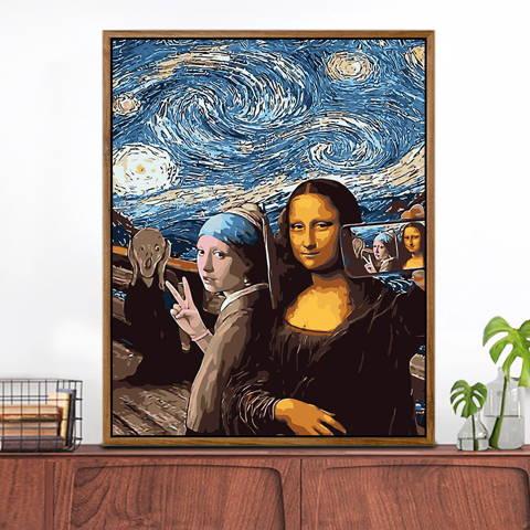 peinture par numero personnalisée la Joconde, la jeune fille a la perle et le cri