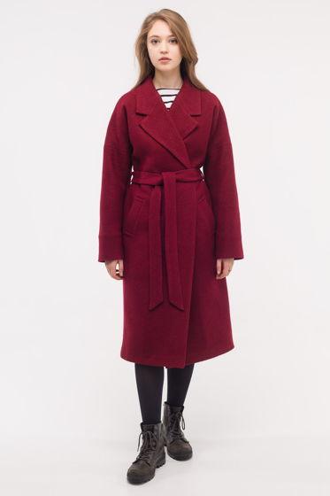 Зимнее утеплённое пальто-халат винного цвета