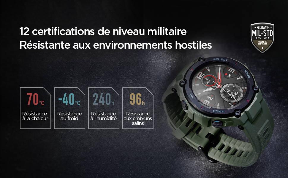 Amazfit T-Rex -  12 certifications de niveau militaire Résistante aux environnements hostiles