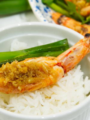 Steamed Prawns with Garlic