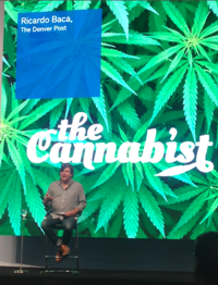Richard Baca of the Denver Post hosted a presentation in the exhibit hall on the recently legalized marijuana industry in Colorado.
