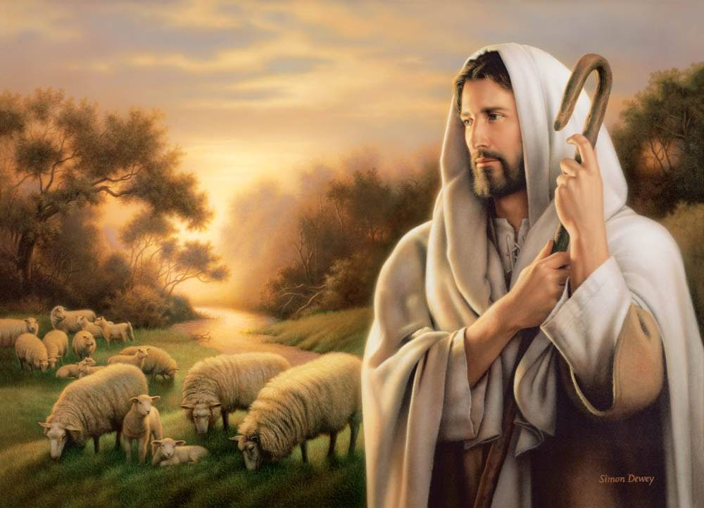 Peaceful LDS art painting of Jesus guarding a flock of sheep.