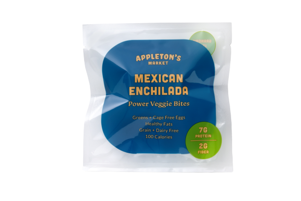 Appleton's Market Mexican Enchilada Power Veggie Bites in package - full of cage free eggs, zesty chili, black beans,  broccoli, kale, carrots, chickpea flour, quinoa paleo and keto friendly gluten free grain free dairy free