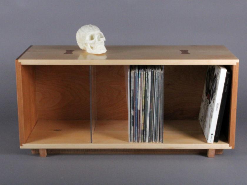 Gideon Rettich Woodworker Record Bin Maple-Cherry Record Storage Bin Cherry and Maple