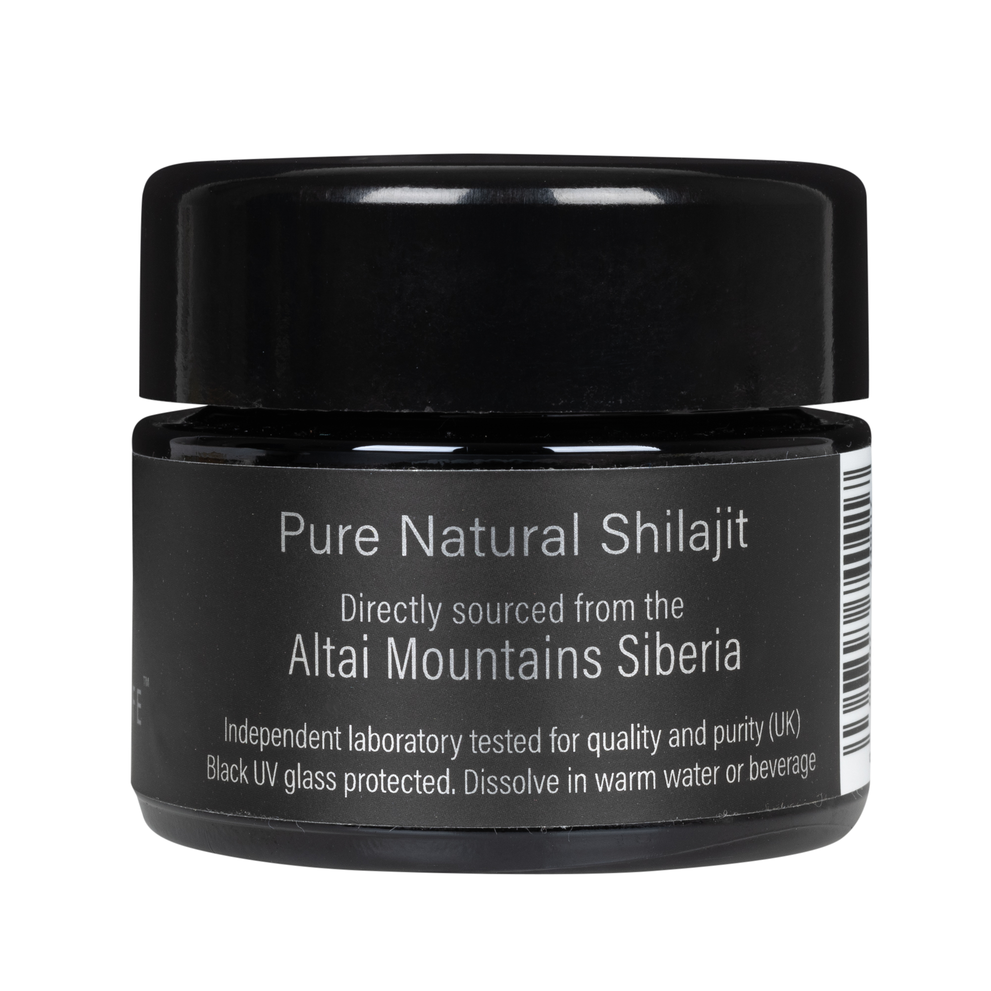 Mountainlife Natural Shilajit resin in 30g UV glass jar side with side shot
