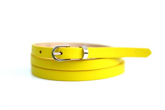 Кожаный узкий ремень (желтый)