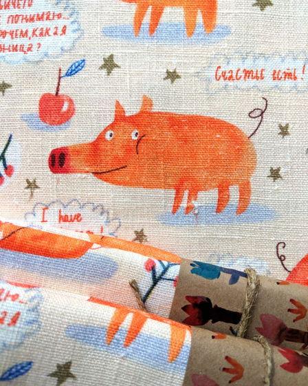 Кухонное полотенце Свинки оранжевые