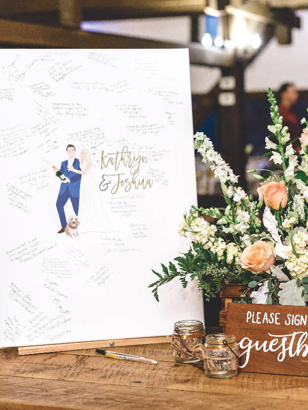 Alternative wedding guest book with couple portrait illustration
