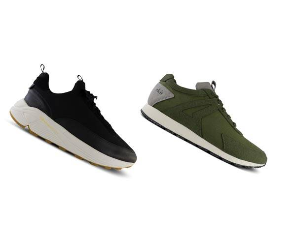 Mens sustainable Ekn black sneakers and olive green low profile runners