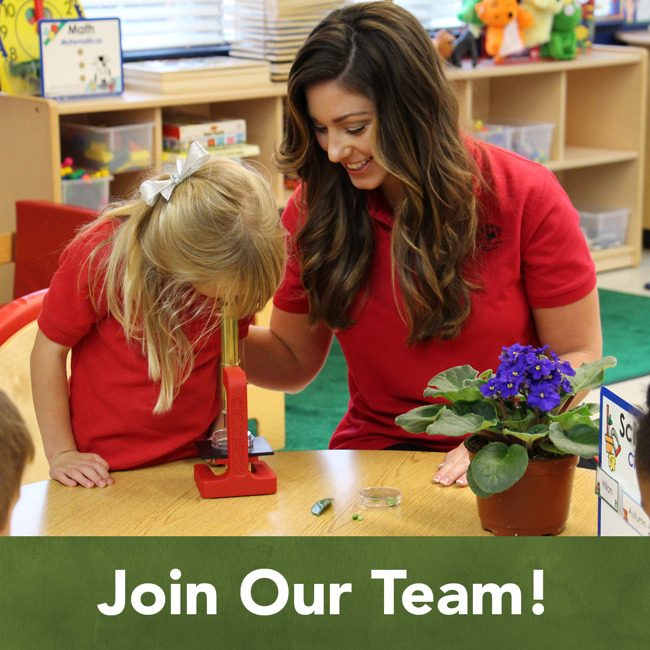 Join our team poster featuring a Primrose teacher smiling as her student looks at a leaf through a microscope