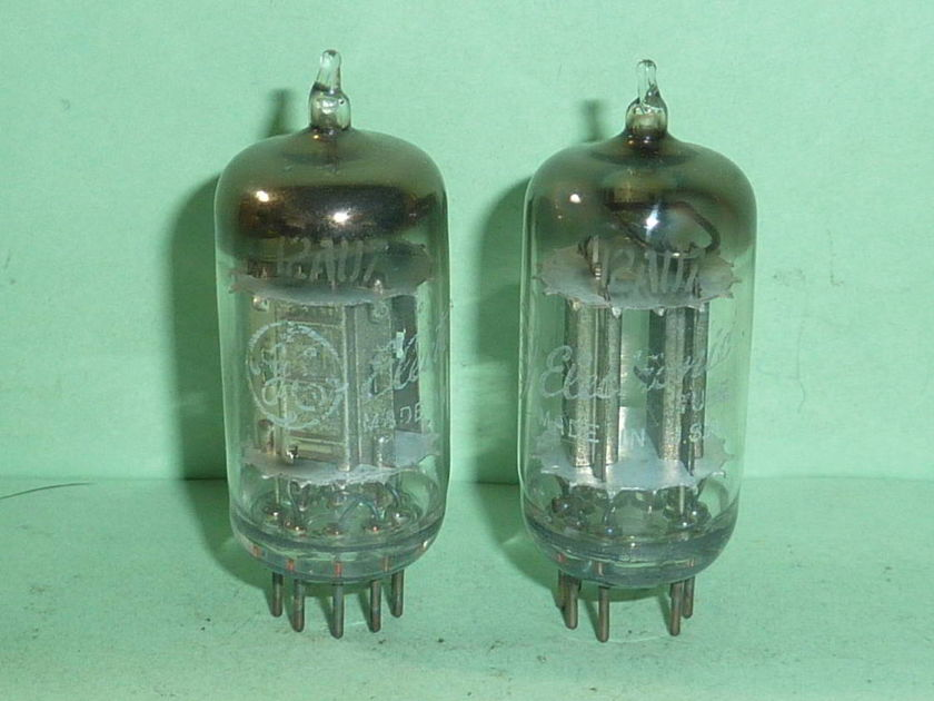Ken-Rad (GE) 12AU7 ECC82 Pewter Plate Tubes, Matched Pair, NOS, Tested, Matched Codes