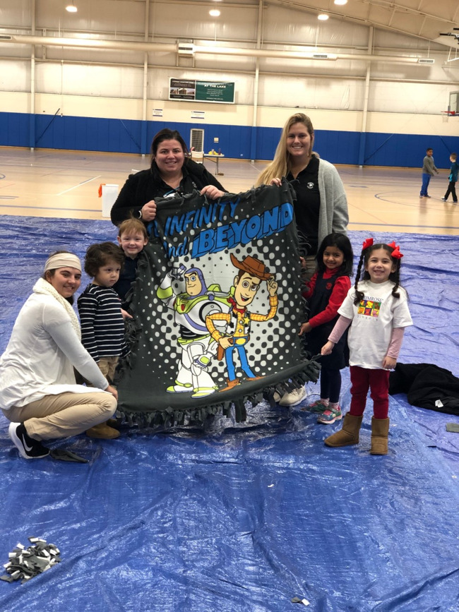 Our students made a no sew fleece blanket for Fleece for Keeps