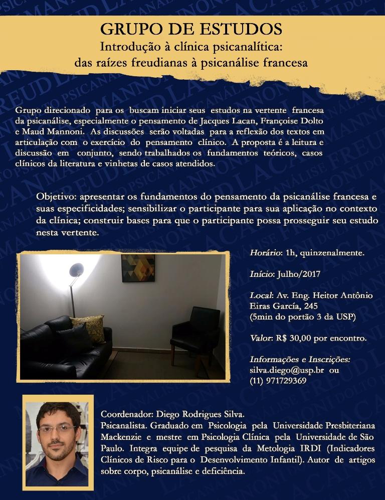 GRUPO DE ESTUDOS - Introdução à clínica psicanalítica: das raízes freudianas à psicanálise francesa