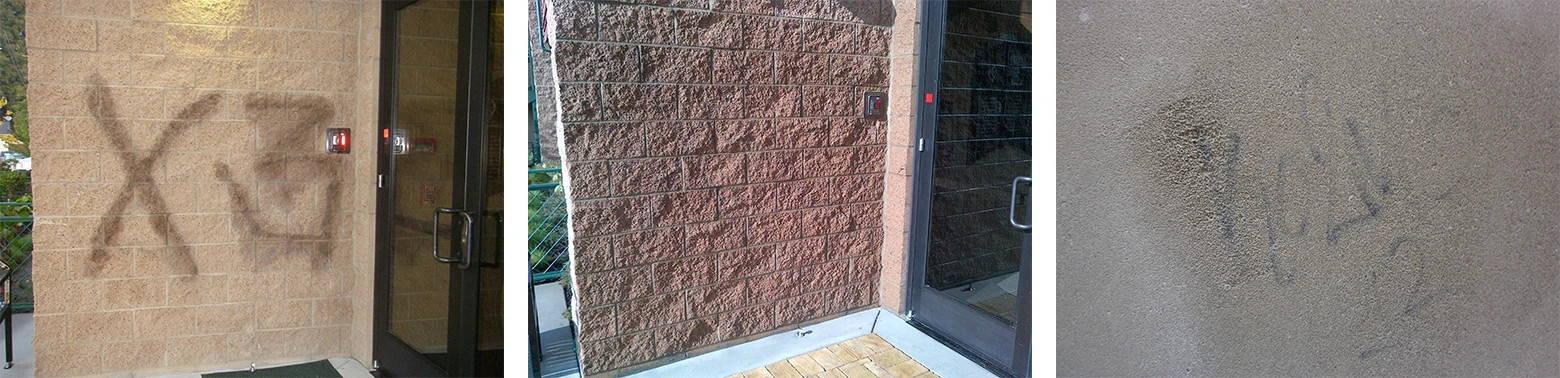 remove residual graffiti shadows from limestone, granite and marble