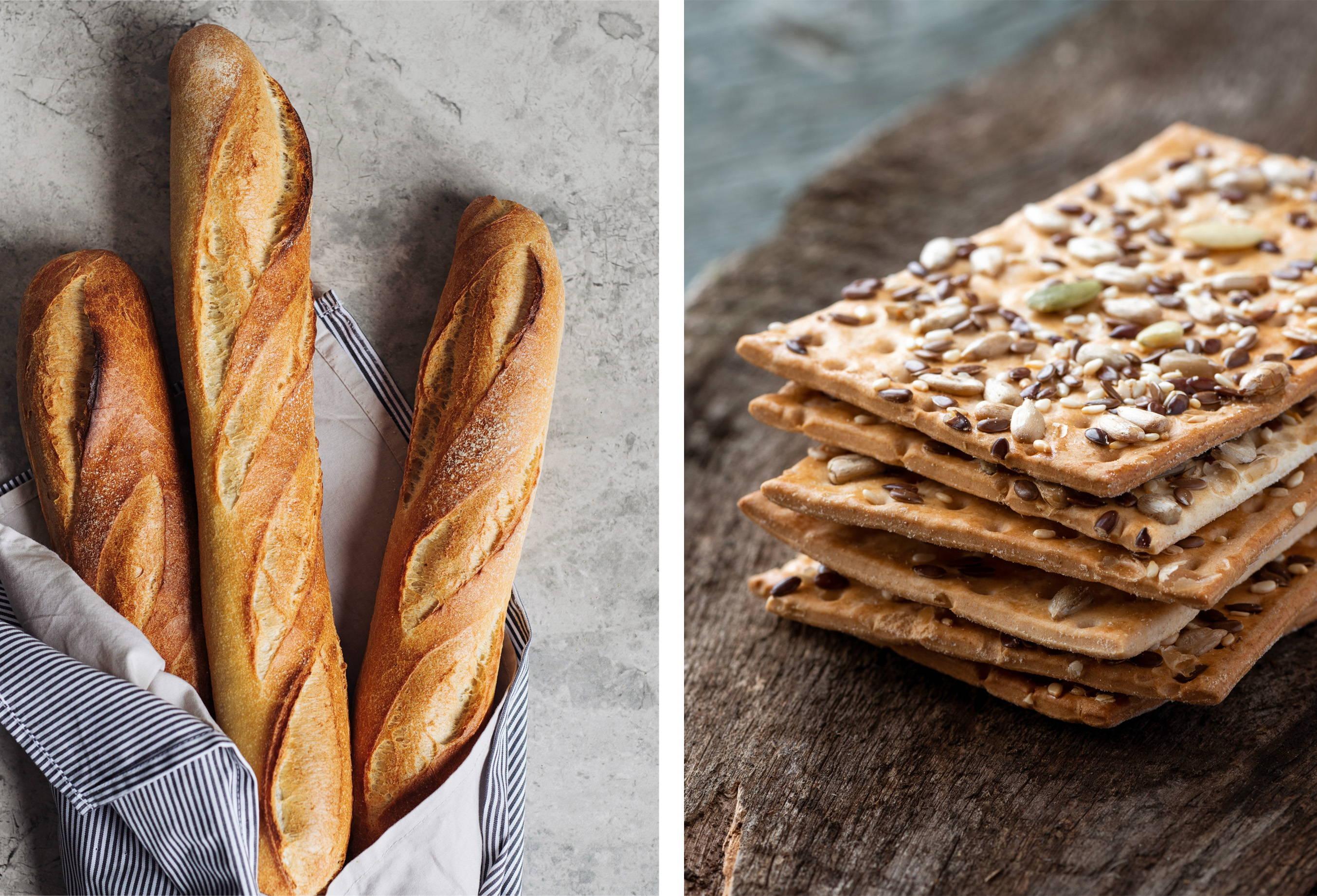 Fresh baked french baguette & artisanal crackers