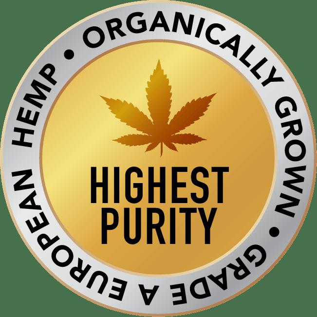 Highest Purity logo organically grown, grade A european hemp,