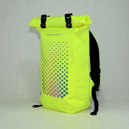 Лимонный ролл топ рюкзак / Lime Green Reflective Backpack / Сумка со светоотражающим принтом
