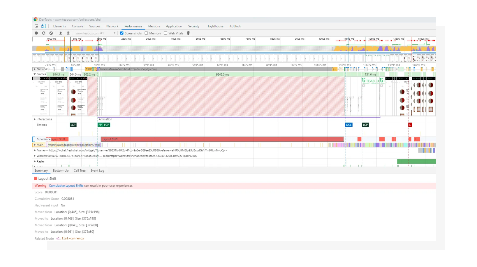 Layout shifts in Chrome DevTools