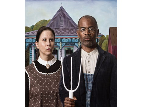"E2: Elizabeth Kleinveld & Epaul Julien. ""Ode to Grant Wood's 'American Gothic.'"" Featuring the artists."