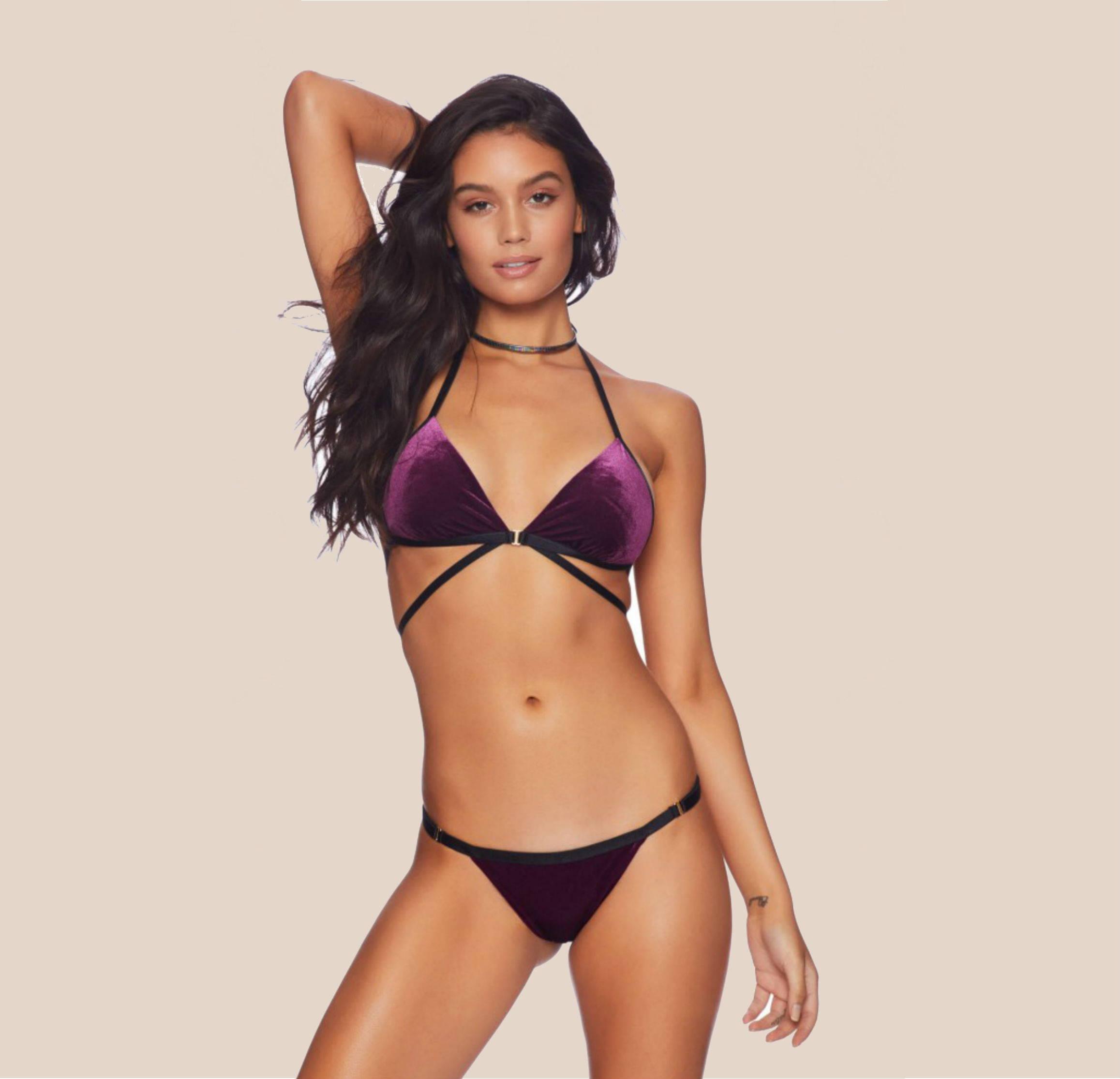 Beach Bunny Renegade Velvet Plum Bikini Top + Skimpy Bikini Bottom