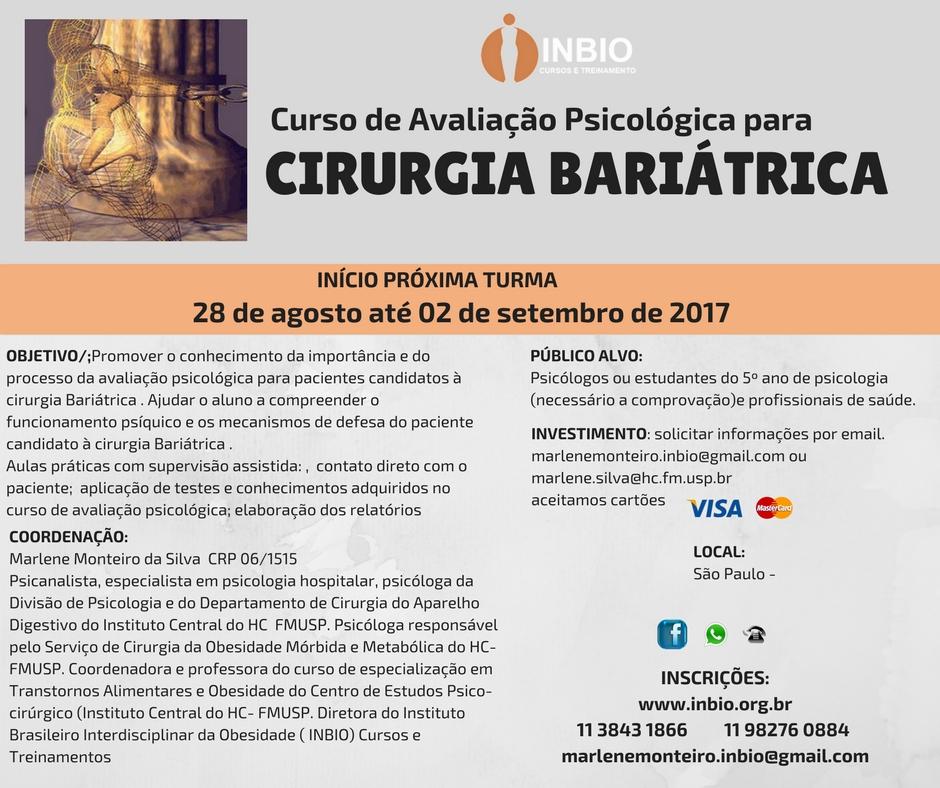 CURSO DE AVALIAÇÃO PSICOLÓGICA PARA CIRURGIA BARIÁTRICA