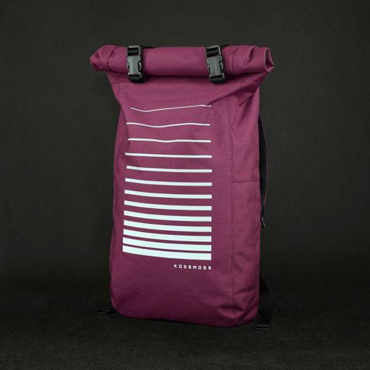 Фиолетовый ролл топ рюкзак со светоотражающим принтом / Purple Reflective Backpack