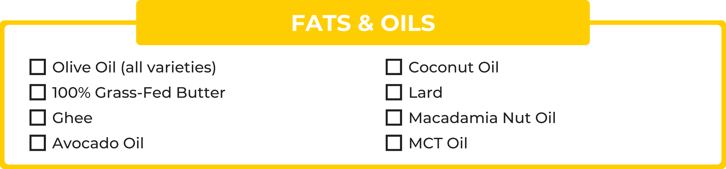 No carb foods: Fats & oils