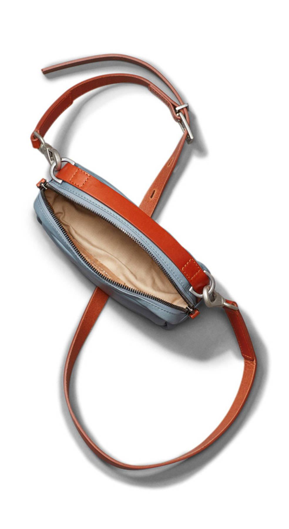 Limited Edition Leila Small Leather Crossbody Bag in Denim Inside