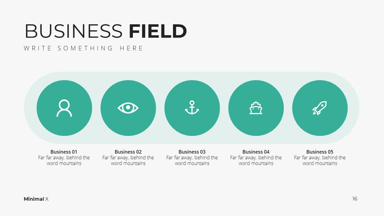 Minimal X  Company Profile Presentation Template Business Fields