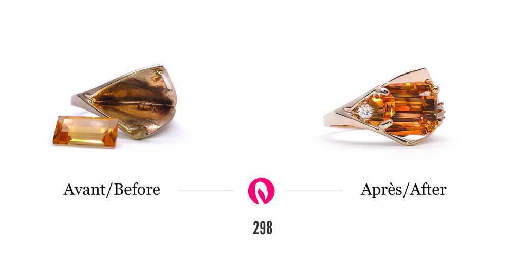 Transformation d'une bague et ajout d'une citrine comme pierre principale avec un petit diamant.