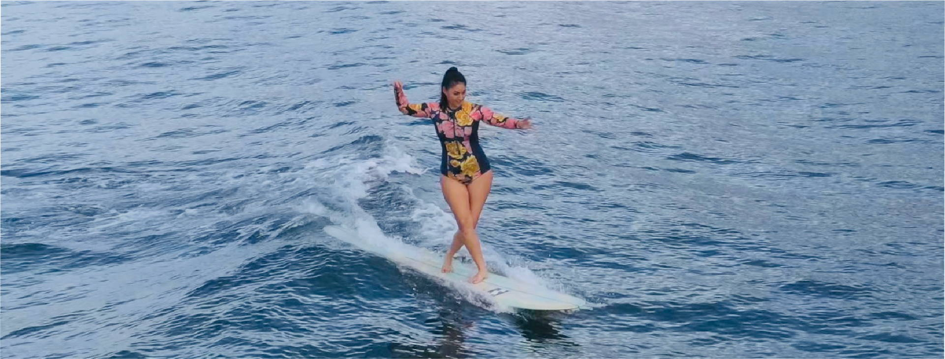 Lindsay is wearing Eidon's Hayden paddle suit from the Layla collection.