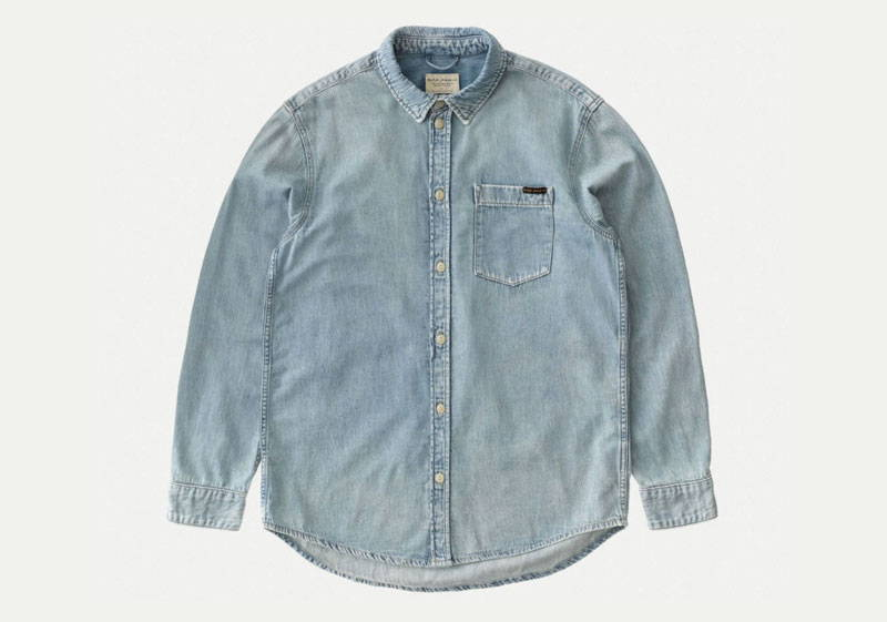 Light blue men's organic cotton denim shirt from Nudie Jeans