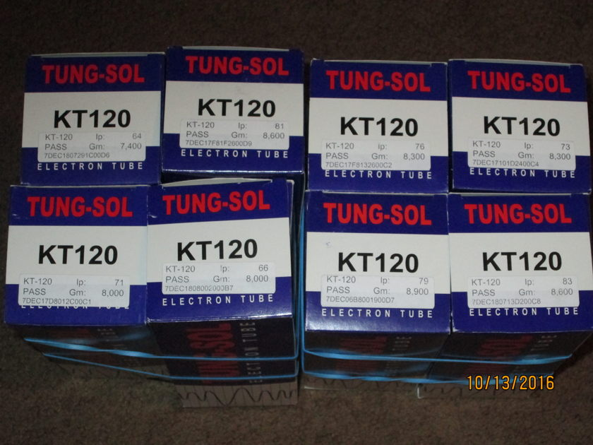 Tung-Sol KT-120 (2) matched quads 8 tubes