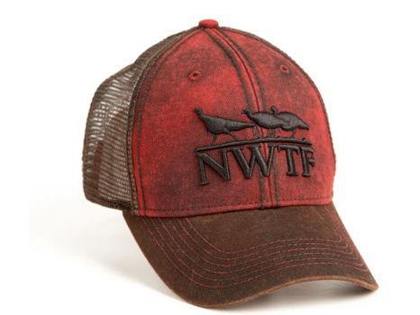 Men's Red Twill Cap w/Warm Choc Mesh Back 3D Emb. Logo
