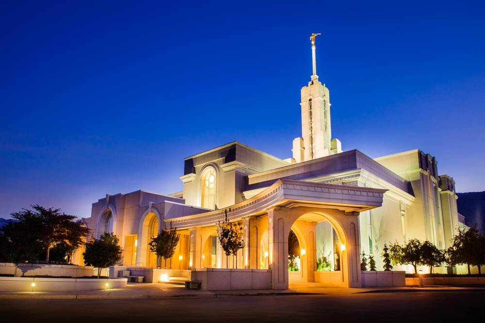 LDS art photo of Mount Timpanogos Temple glowing against an evening sky.